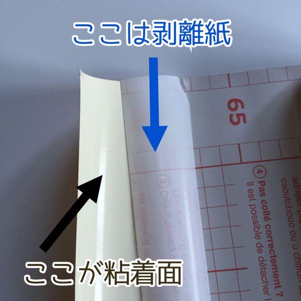 剥離紙と粘着面の説明画像